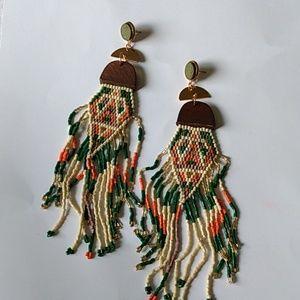 Woven seed bead fringed earrings